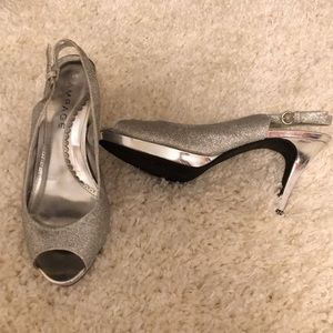 Silver Rampage prom heels. Size 9.5 M 3.5 in heel